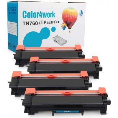 Color4work Compatible Brother TN760 TN730 TN-760 Toner Cartridge with Brother MFC-L2710DW HL-L2350DW HL-L2395DW DCP-L2550DW MFC-L2750DW Black 4-Pack