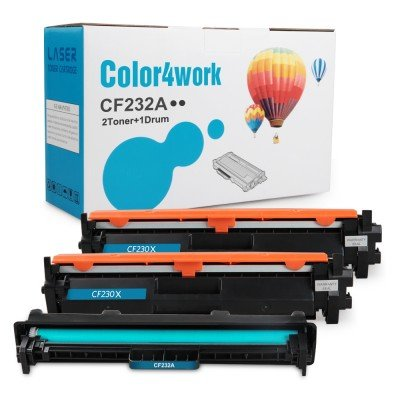 Color4work Compatible Toner and Drum Replacement for HP 32A CF232A Toner Drum 1-Pack and HP 30X CF230X Toner Cartridge 2-Pack for Laserjet Pro M203dw M203d M203dn M227fdw M227fdn Printer