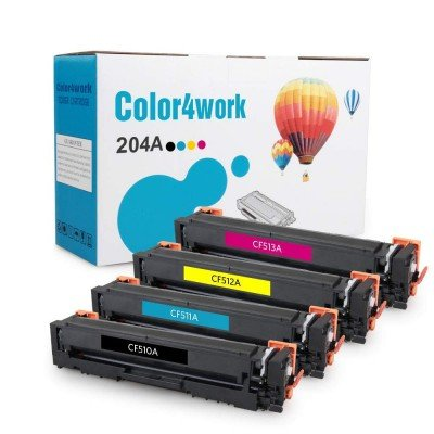 Color4work Compatible Toner Cartridge Replacement for HP 204A(CF510A CF511A CF512A CF513A) High Yield Black/Cyan/Magenta/Yellow, 4-Pack, use for HP Color LaserJet Pro M154, MFP M180, MFP M181 Printer