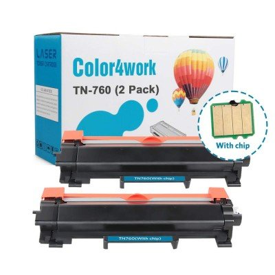 Color4work Compatible Brother TN760 Toner Cartridge TN730 Black 2-Pack, 3,000 Pages High Yield, Use for Brother HL-L2350DW MFC-L2710DW HL-L2395DW DCP-L2550DW MFC-L2750DW Printer