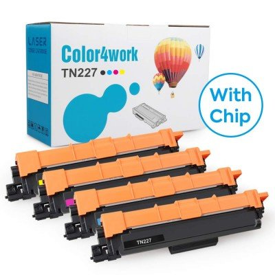 Color4work (with Chip) Compatible Brother TN227 Toner Cartridge Set TN227BK/TN227C/TN227M/TN227Y 4-Pack, High Yield Replacement for Brother HL-L3290CDW MFC-L3710CW HL-L3210CW HL-L3230CDW Printer