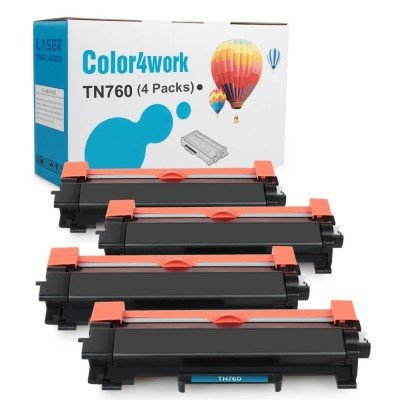Color4work Compatible Brother TN760 TN730 TN-760 Toner Cartridge Black 4-Pack, use with DR730 Drum Unit for Brother MFC-L2710DW HL-L2350DW HL-L2395DW DCP-L2550DW MFC-L2750DW Printer